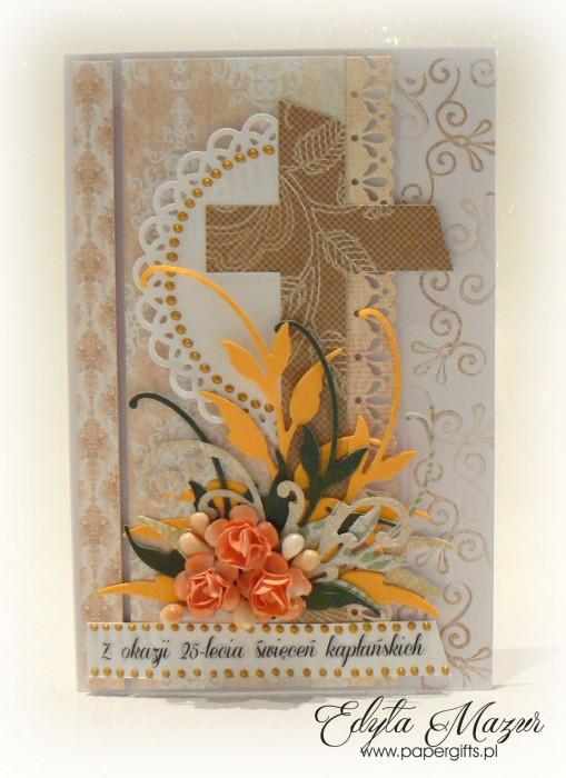 Biało-złota z pomarańczowymi różami - Kartka na Rocznicę Święceń Kapłańskich2