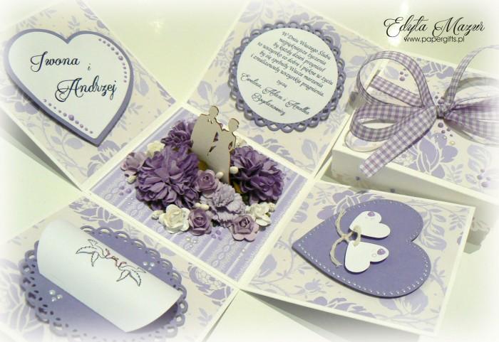 Fioletowo-biały box ślubny dla Iwony i Andrzeja1