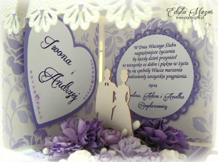 Fioletowo-biały box ślubny dla Iwony i Andrzeja2