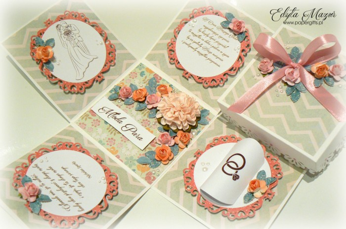 Pistacjowo-różowy box ślubny