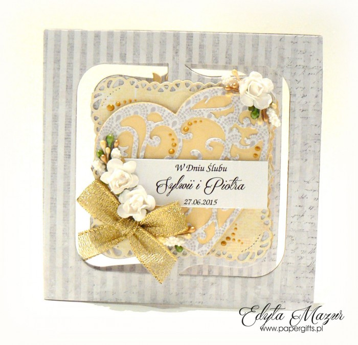 Szaro-żółta kartka na ślub dla Sylwii i Piotra