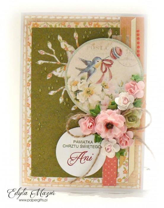 Zielono-różowa z ptaszkiem - Pamiatka Chrztu Świętego