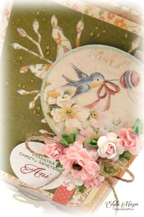 Zielono-różowa z ptaszkiem - Pamiatka Chrztu Świętego1