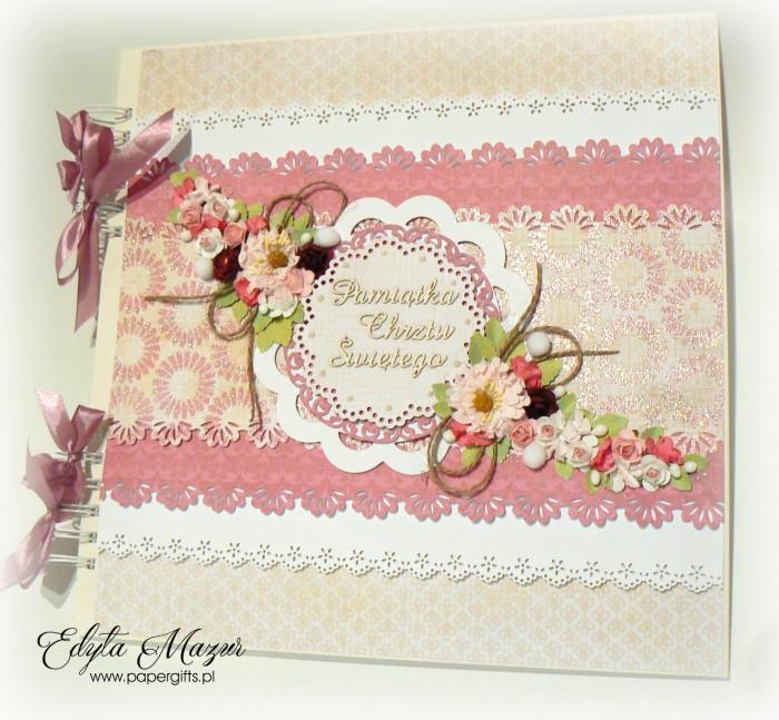 Album różowo-biały z falbankami - Pamiątka chrztu