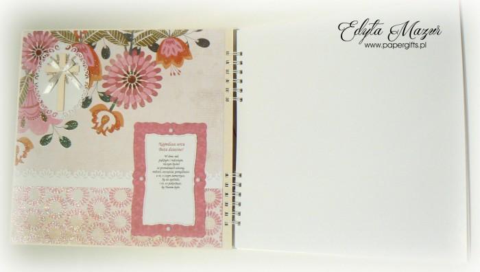 Album różowo-biały z falbankami - Pamiątka chrztu2
