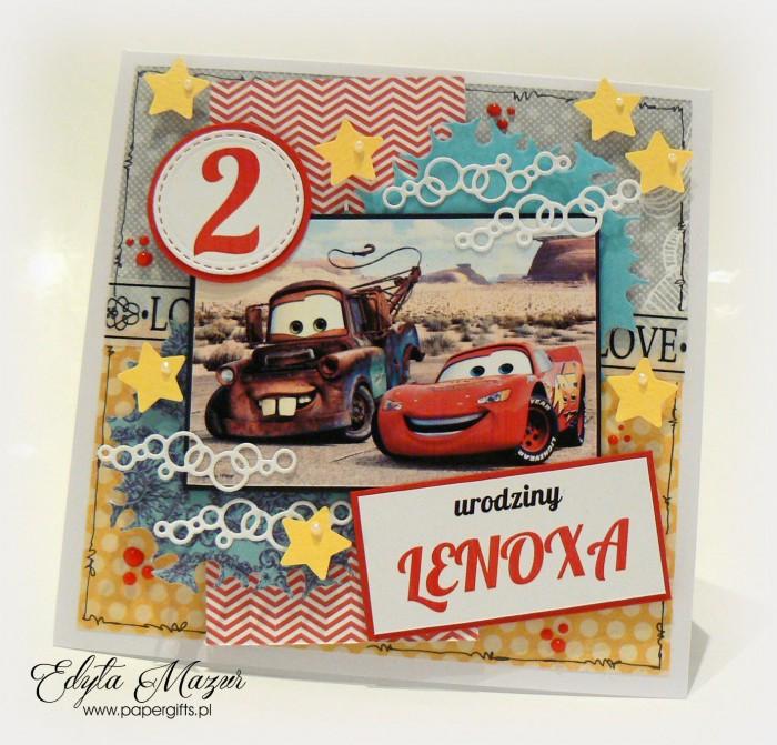 Auta - kartka na 2 urodziny Lenoxa