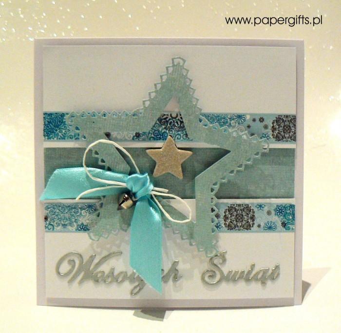 Błękitna gwiazdka z dzwoneczkiem - kartka bożonarodzeniowa