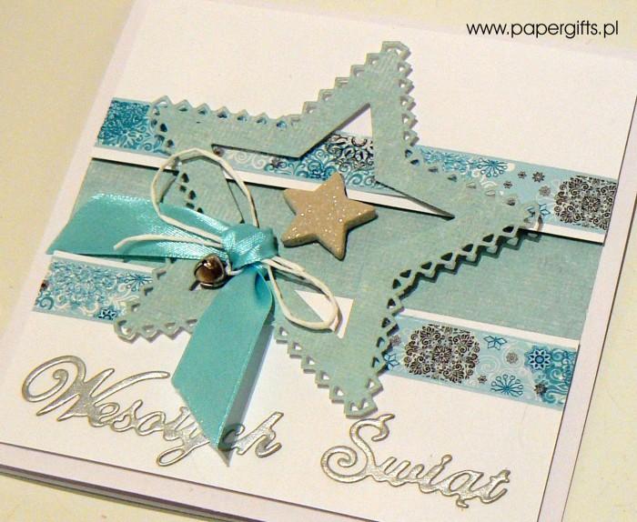 Błękitna gwiazdka z dzwoneczkiem - kartka bożonarodzeniowa1