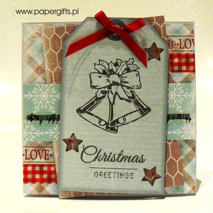 Błękitna z dwonkami - kartka bożonarodzeniowa