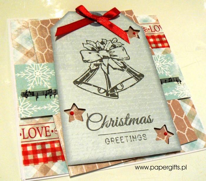 Błękitna z dwonkami - kartka bożonarodzeniowa1