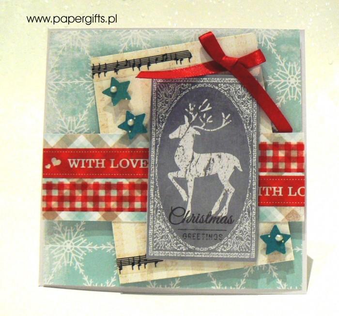 Błękitna z jeleniem - kartka bożonarodzeniowa