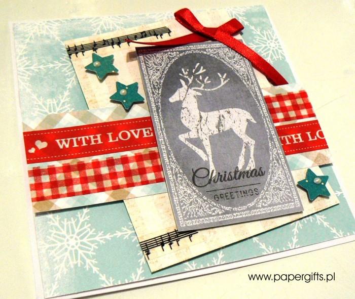Błękitna z jeleniem - kartka bożonarodzeniowa1