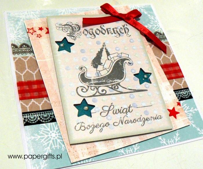 Błękitna z saniami - kartka bożonarodzeniowa1