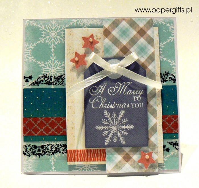 Błękitna ze śnieżynką - kartka bożonarodzeniowa
