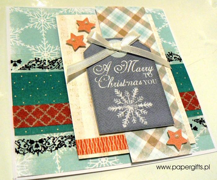 Błękitna ze śnieżynką - kartka bożonarodzeniowa1