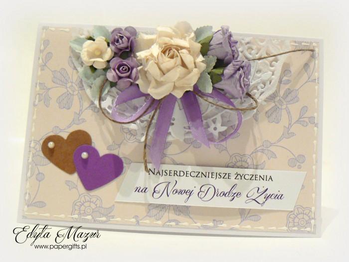 Beżowa w fioletowe motywy - kartka ślubna prostokątna