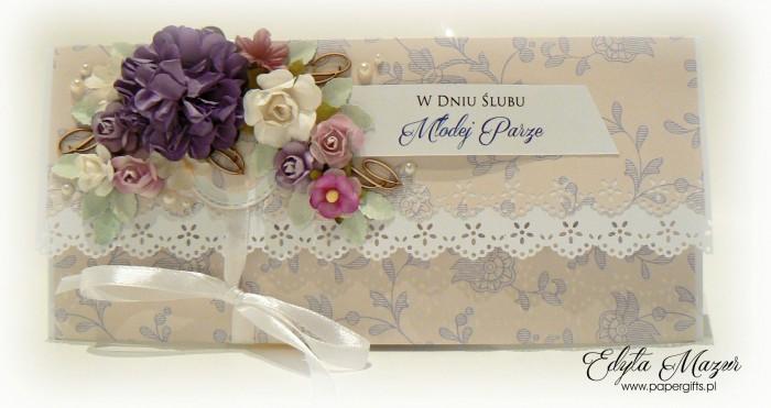Beżowa w fioletowe motywy - kopertówka ślubna1