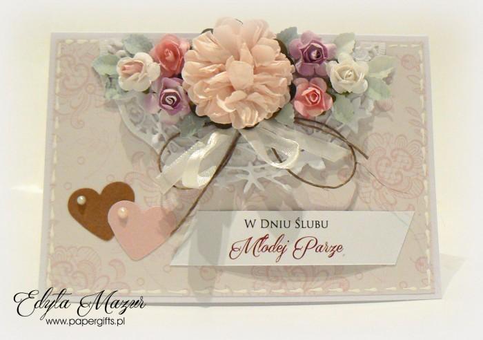 Beżowa w różowe motywy - kartka ślubna prostokątna