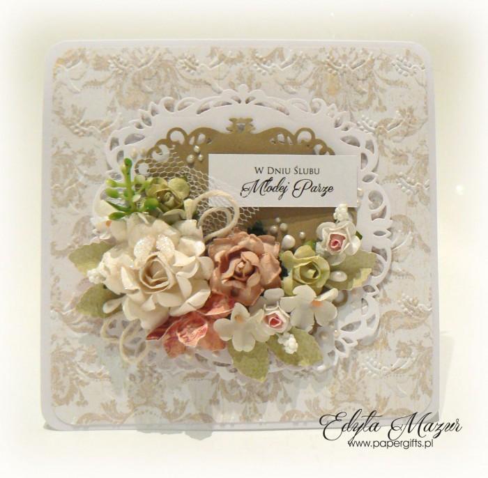 Beżowo-biała z różami - kartka ślubna