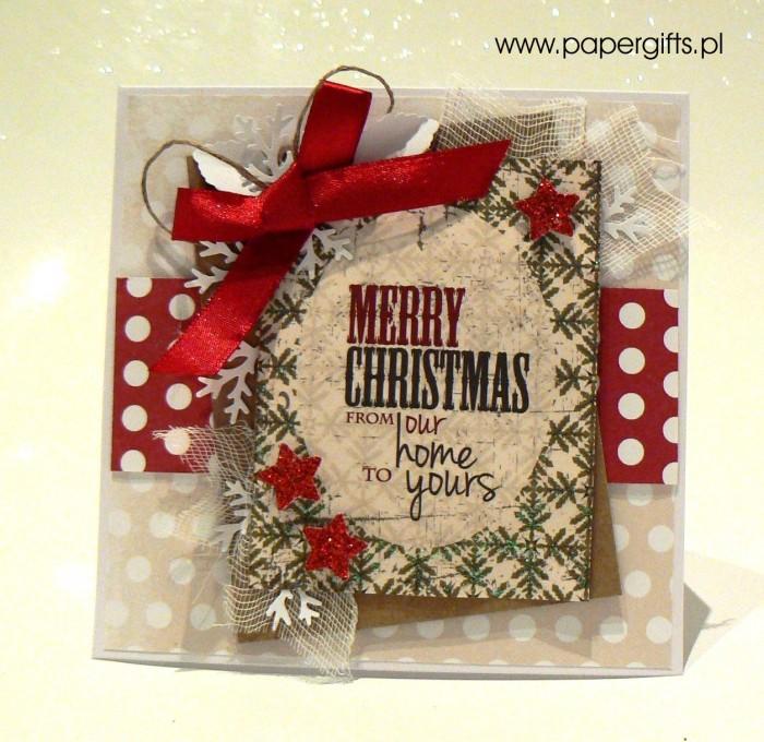 Beżowo-czerwona w kropki - kartka bożonarodzeniowa