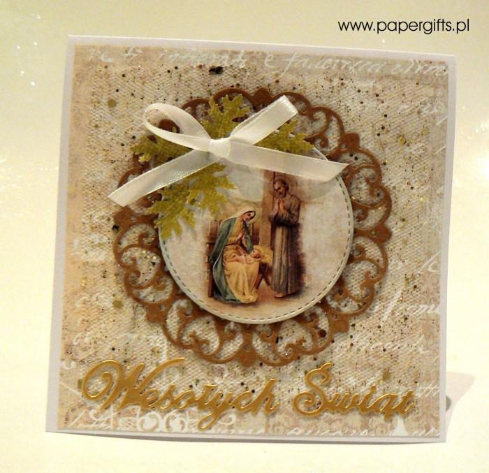 Beżowo-złota kartka bożonarodzeniowa
