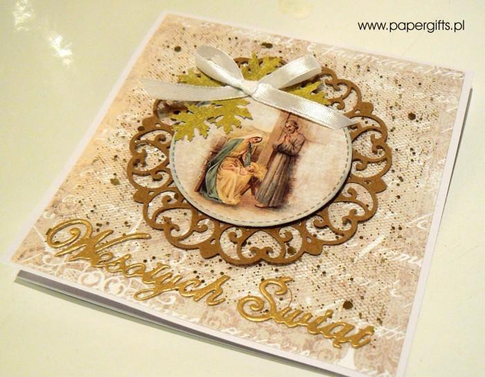 Beżowo-złota kartka bożonarodzeniowa1