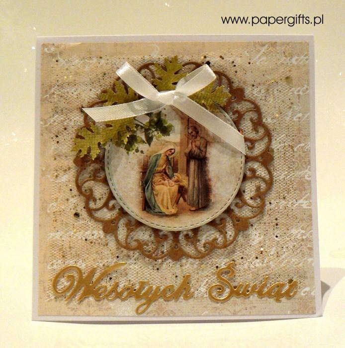 Beżowo-złota kartka bożonarodzeniowa2