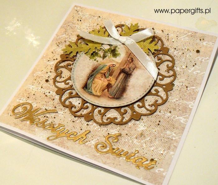 Beżowo-złota kartka bożonarodzeniowa3