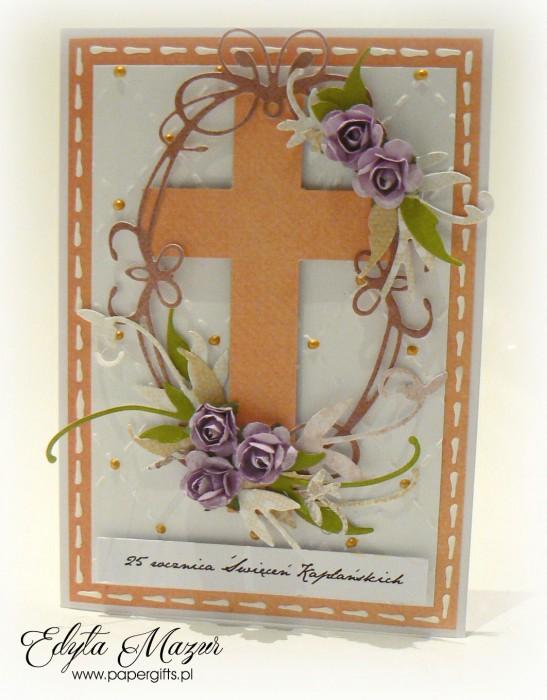 Biało-pomarańczowa z fioletowymi różami - Kartka na Rocznicę Święceń Kapłańskich2