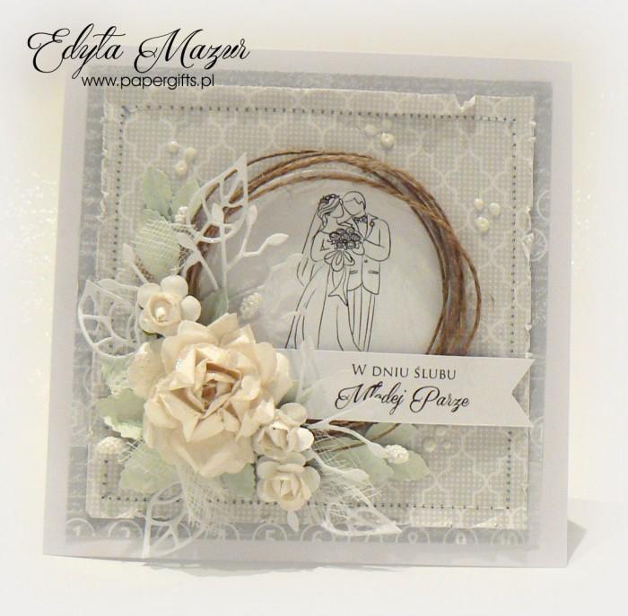 Biało-szara z różą i para młodą - kartka ślubna