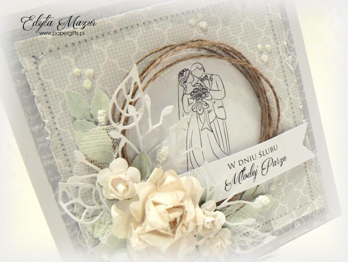 Biało-szara z różą i para młodą - kartka ślubna1