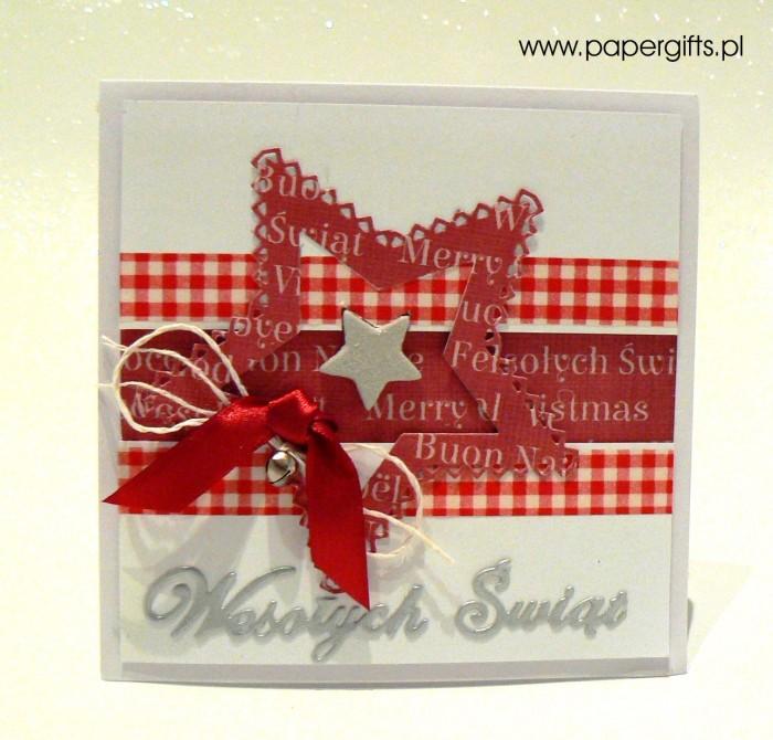 Czerwona gwiazdka z dzwoneczkiem - kartka bożonarodzeniowa