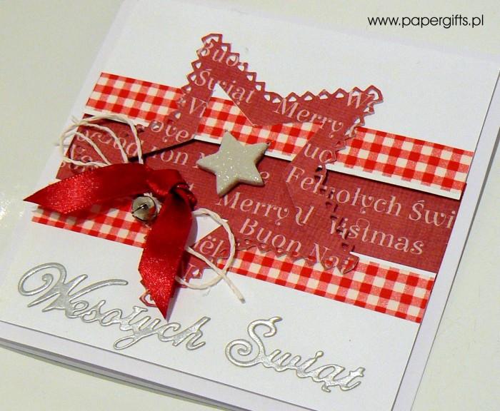 Czerwona gwiazdka z dzwoneczkiem - kartka bożonarodzeniowa1