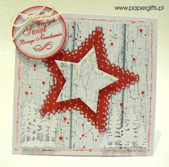 Czerwono-biała gwiazdka - kartka bożonarodzeniowa
