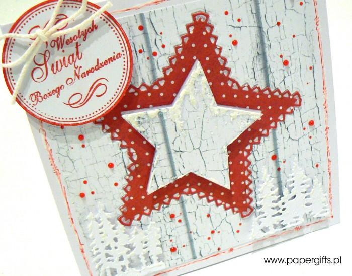 Czerwono-biała gwiazdka - kartka bożonarodzeniowa1