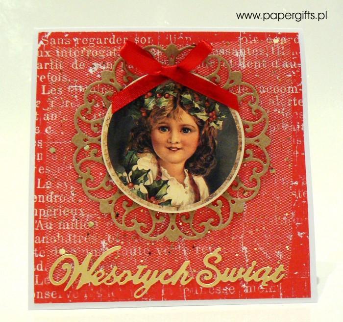 Dziewczynka z wiankiem - czerwono-złota kartka bożonarodzeniowa