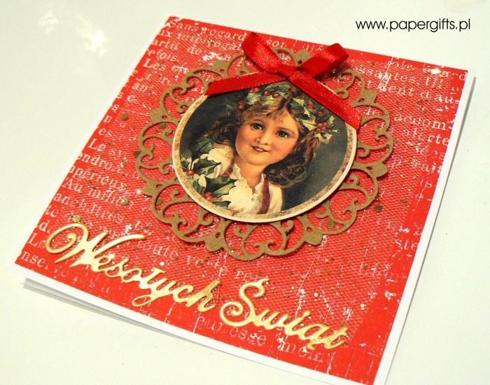 Dziewczynka z wiankiem - czerwono-złota kartka bożonarodzeniowa1