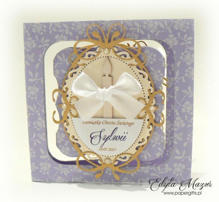Fioletowa z beżem i złotem - kartka na chrzest Sylwii