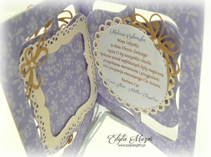 Fioletowa z beżem i złotem - kartka na chrzest Sylwii1
