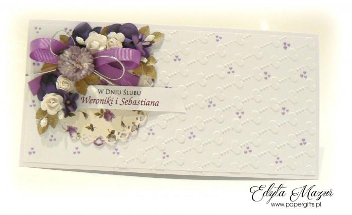 Fioletowy bukiet z sercami - kartka ślubna dla Weroniki i Sebastiana