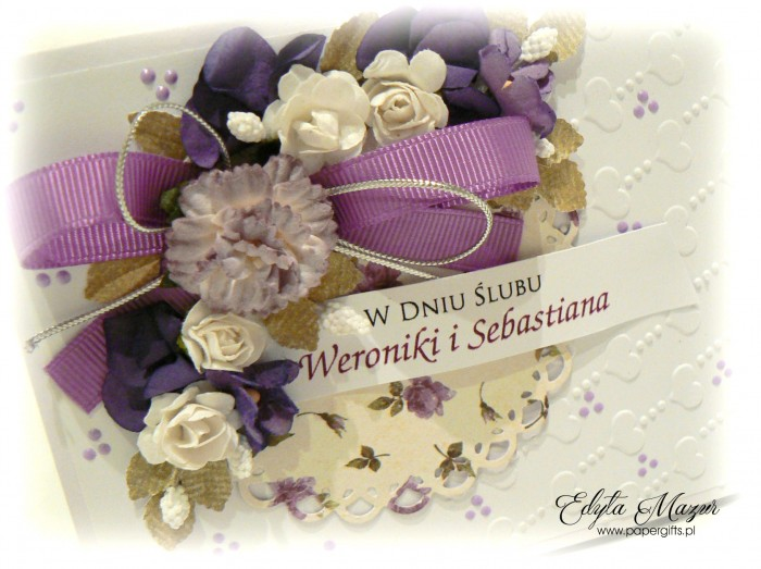 Fioletowy bukiet z sercami - kartka ślubna dla Weroniki i Sebastiana1