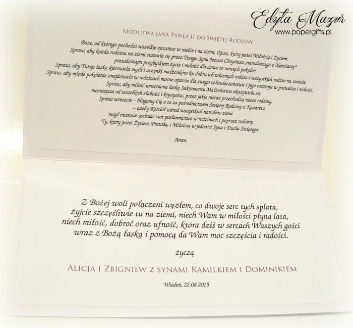 Fioletowy bukiet z sercami - kartka ślubna dla Weroniki i Sebastiana2