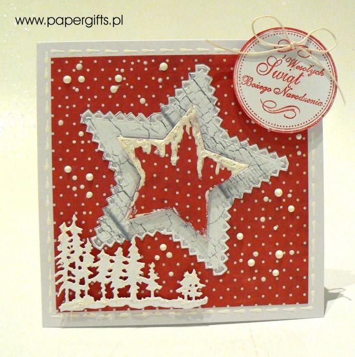 Gwiazdka na kropkowanym czerwonym tle - kartka bożonarodzeniowa