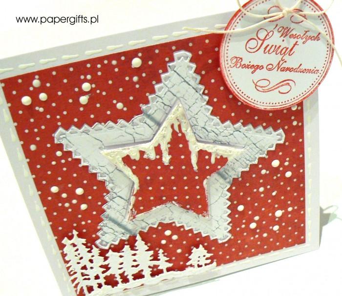 Gwiazdka na kropkowanym czerwonym tle - kartka bożonarodzeniowa1