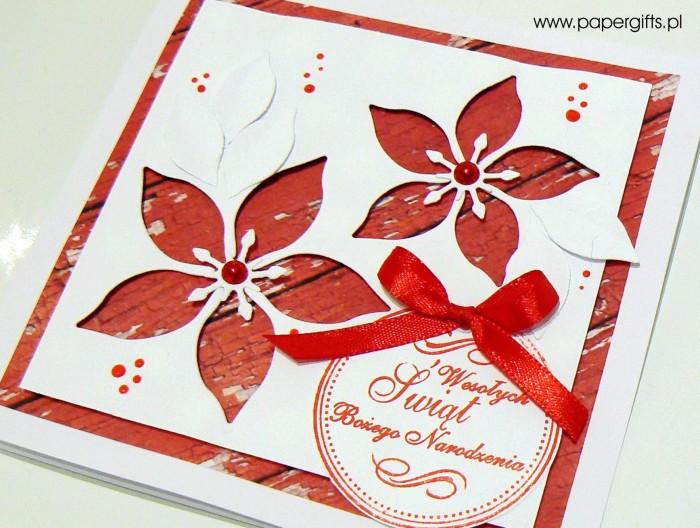 Gwiazdy betlejemskie - kartka bożonarodzeniowa, wersja 1a
