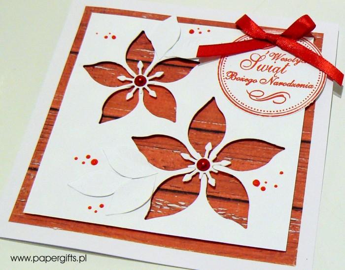 Gwiazdy betlejemskie - kartka bożonarodzeniowa, wersja 3a