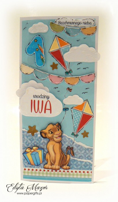 Latawce z królem lwem - kartka na roczek Iwa