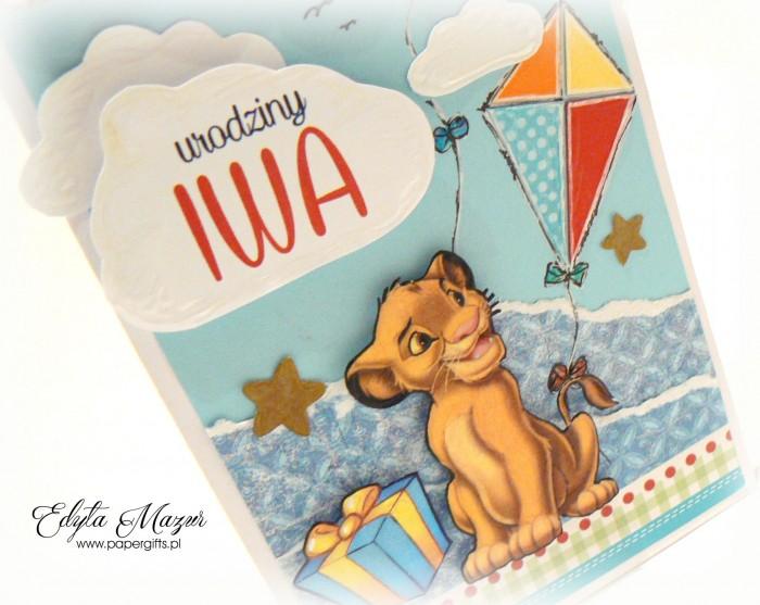 Latawce z królem lwem - kartka na roczek Iwa1