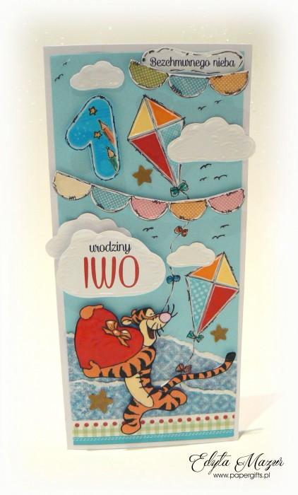Latawce z tygryskiem - kartka na roczek Iwo