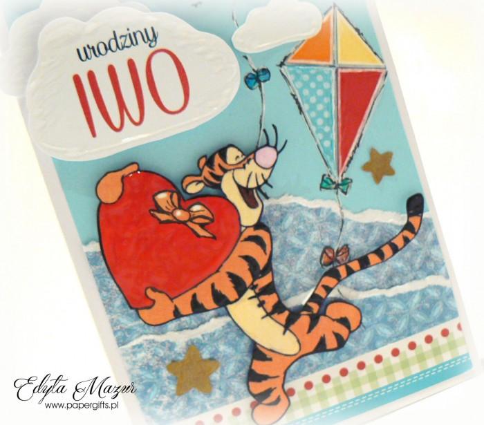 Latawce z tygryskiem - kartka na roczek Iwo1
